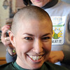 Susie Ritchey after her hair was shaved off  for the St. Baldrick's Foundation fundraiser at Papa Frank's  Restaurant on Saturday. <br /> <br /> March 20, 2010<br /> Staff photo/David R. Jennings