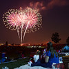 The Claybaugh family Dave, Jenny with their daughters Emily, 2, and Kylie, 4, watch the fireworks display at Broomfield's Great American Picnic at Community Park on Wednesday.<br /> <br /> July 4, 2012<br /> staff photo/ David R. Jennings