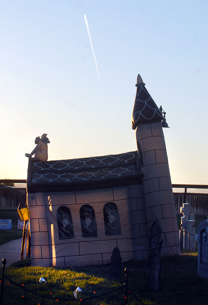 A castle is the entryway for a Halloween display on Craftsman Way.<br /> <br /> October 21, 2010<br /> staff photo/David R. Jennings