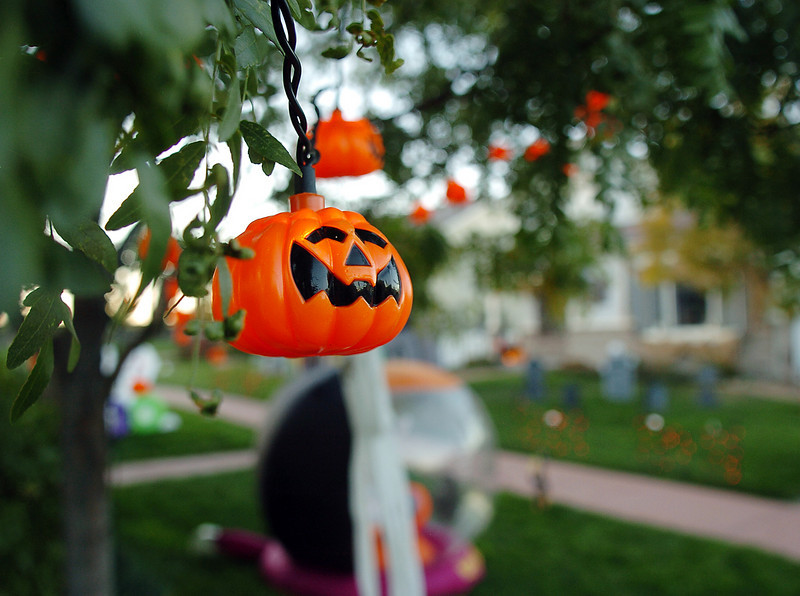 Pumpkin lights in the trees for the Halloween display at 14331 Craftsman Way on Thursday<br /> <br /> October 21, 2010<br /> staff photo/David R. Jennings