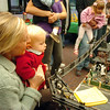 Julie Rieken and her daughter Ruth, 2, look at the haunted house in the exhibit during the Hands-On Model Raillroads exhibit by Youth in Model Railroading on Saturday at the Mamie Doud Eisenhower Public LIbrary. <br /> October 8, 2011<br /> staff photo/ David R. Jennings