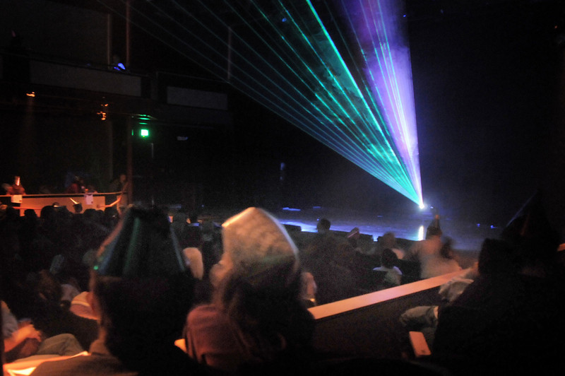 Lasers paint the air during the Lazer Vaudeville performance during the Happy Noon Year celebration on Friday at the Broomfield Auditorium.<br /> December 31, 2010<br /> staff photo/David R. Jennings
