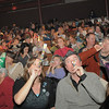 The audience of 300 blow their noise makers for  the Happy Noon Year celebration after the performance by Lazer Vaudeville on Friday at the Broomfield Auditorium.<br /> December 31, 2010<br /> staff photo/David R. Jennings