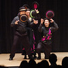 Carter Brown, left, Cindy Marvell and Warren Hammond juggle hats during the Lazer Vaudeville performance during the Happy Noon Year celebration at the Broomfield Auditorium.<br /> December 31, 2010<br /> staff photo/David R. Jennings