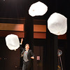 Performer Peter Davison juggles trash bags filled with air to music during the Happy Noon Year celebration at the Audi on Monday.<br /> December 31, 2012<br /> staff photo/ David R. Jennings