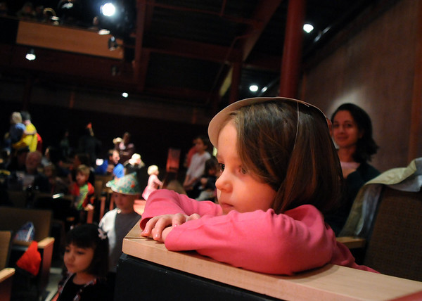 Katelyn Helcoski, 4, watches the Salida Circus perform at the Happy Noon Year celebration on Thursday at the Audi. <br /> <br /> December 31, 2009<br /> Staff photo/David R. Jennings