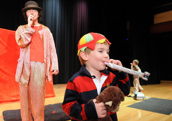 Nicholas Kastner, 3, blows a noisemaker after the Happy Noon Year celebration with the Salida Circus on Thursday at the Audi. <br /> <br /> December 31, 2009<br /> Staff photo/David R. Jennings