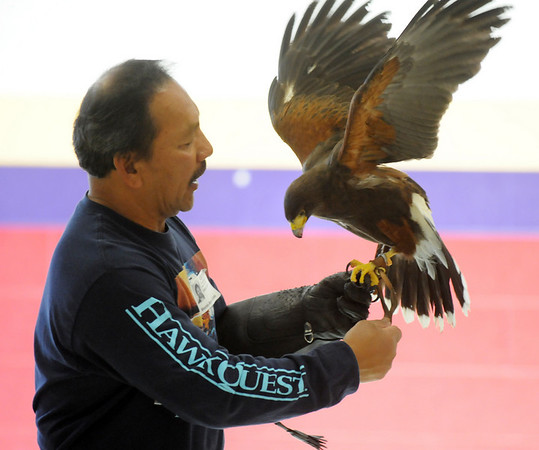 HawkQuest master falconer Kin Quitugua explains details of a Harris Hawk during his presentation to Westlake Middle School 6th graders in the Wolf Pack Corps on Tuesday.<br /> <br /> November 24, 2009<br /> Staff photo/David R. Jennings