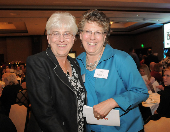 Shirley Gray, left, and Kris Phillips at the Broomfield Community Foundation's Heart of Broomfield awards ceremony at the Omni Interlocken Resort Hotel on Monday.<br /> <br /> April 18, 2011<br /> staff photo/David R. Jennings