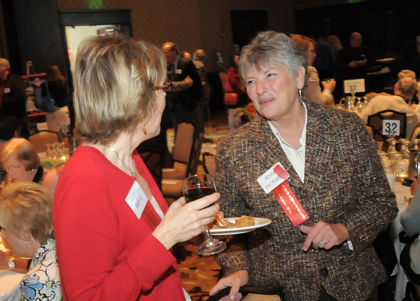 Virginia Belval, left, chats with Anne McKellar at the Broomfield Community Foundation's Heart of Broomfield awards ceremony at the Omni Interlocken Resort Hotel on Monday.<br /> <br /> April 18, 2011<br /> staff photo/David R. Jennings