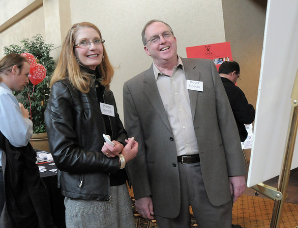 Sherrie Samrak and David Steedle attending the Broomfield Community Foundation's Heart of Broomfield awards ceremony at the Omni Interlocken Resort Hotel on Monday.<br /> <br /> April 18, 2011<br /> staff photo/David R. Jennings