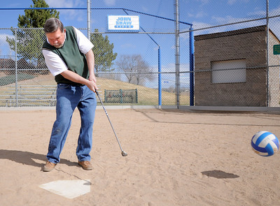 John Ferraro, heart and soul winner, chips a soccer ball at home plate of the John Shaw softball field in Community Park. April 5, 2011 staff photo/David R. Jennings