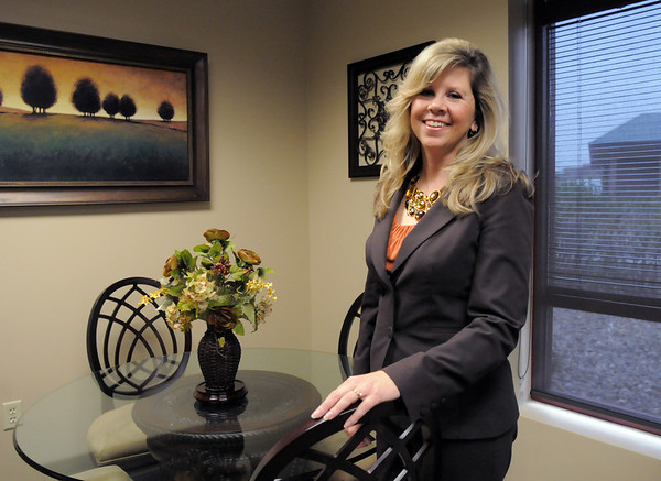 Jennifer Kerr Gene Frank winner of Heart of Broomfield poses at the Broomfield Chamber offices.<br /> April 7, 2011<br /> staff photo/David R. Jennings