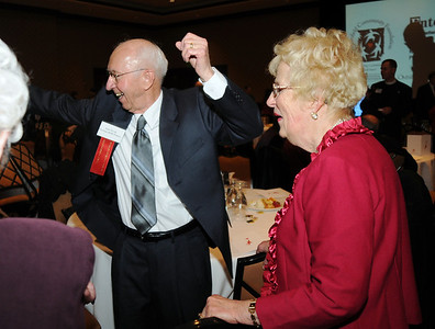 Sam Novak gives a cheer with Eleanor McKinley at the Heart of Broomfield Awards ceremony with the Broomfield Community Foundation at the Omni Interlocken Resort Hotel on Monday.  March 1, 2010 Staff photo/David R. Jennings