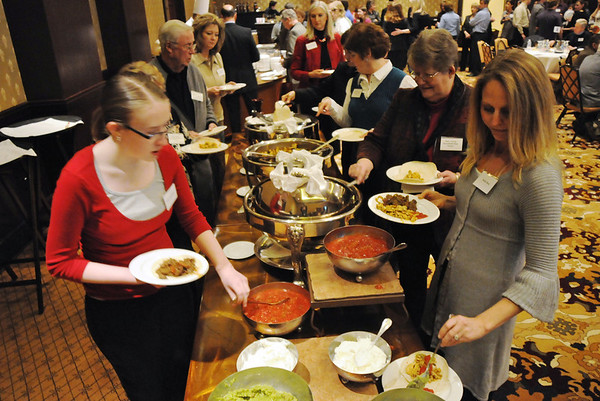 Participants at the food lines at the Heart of Broomfield Awards ceremony with the Broomfield Community Foundation at the Omni Interlocken Resort Hotel on Monday.<br /> <br /> March 1, 2010<br /> Staff photo/David R. Jennings