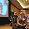 Ashley (Ahrens) Lind, right, and Randy Ahrens listen as the priases for the late Mary Jane Ahrens are read for the Heart and Soul Award at the Heart of Broomfield Awards ceremony with the Broomfield Community Foundation at the Omni Interlocken Resort Hotel on Monday.<br /> <br /> March 1, 2010<br /> Staff photo/David R. Jennings