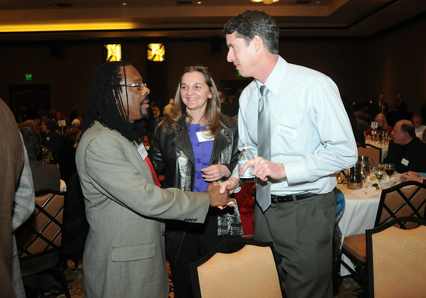 Sammuel Donelson, left, Dr. Chris Marchioni and Eric Holloway at the Heart of Broomfield Awards ceremony with the Broomfield Community Foundation at the Omni Interlocken Resort Hotel on Monday.<br /> <br /> March 1, 2010<br /> Staff photo/David R. Jennings