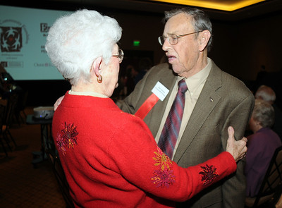 Betty Calvin, left, and John Atkinson at the Heart of Broomfield Awards ceremony with the Broomfield Community Foundation at the Omni Interlocken Resort Hotel on Monday.  March 1, 2010 Staff photo/David R. Jennings
