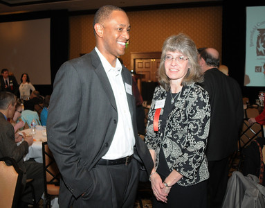 Ken Brown, left,  and Wendy Fiedler at the Heart of Broomfield Awards ceremony with the Broomfield Community Foundation at the Omni Interlocken Resort Hotel on Monday.  March 1, 2010 Staff photo/David R. Jennings