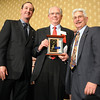 Roger T. Berg , center, Senior Award with David Jurcak,  left,  Omni Interlocken Resort, and Clark Griep, president Broomfield Community Foundation, at the Heart of Broomfield Awards ceremony with the Broomfield Community Foundation at the Omni Interlocken Resort Hotel on Monday.<br /> <br /> March 1, 2010<br /> Staff photo/David R. Jennings