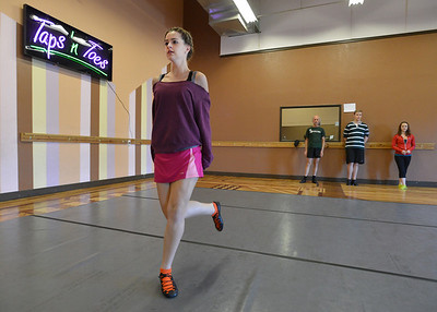 Meghan Doherty, 18, practices a dance during rehearsal at Taps 'n' Toes Dance Studio for the Heritage Irish Stepdancers performance at the Audi March 10th. March 2, 2013 staff photo/ David R. Jennings