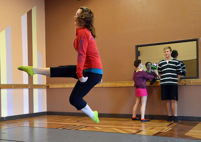 Morgan Pfieffer, 16, dances during rehearsal at Taps 'n' Toes Dance Studio for the Heritage Irish Stepdancers performance at the Audi March 10th.<br /> March 2, 2013<br /> staff photo/ David R. Jennings