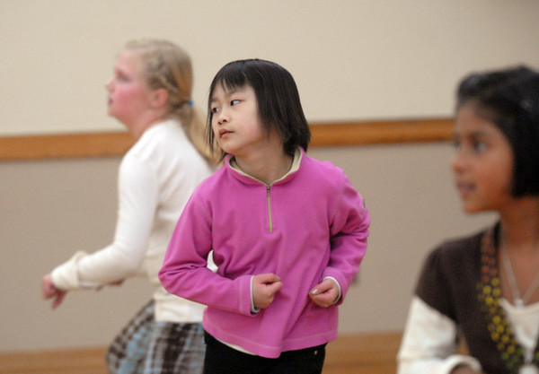 Marisa Emoto, 8, center, dances to the beat during the 7-9 year old Hip Hop dance class on Wedensday at the Broomfield Community Center. <br /> <br /> January 06, 2010<br /> Staff photo/David R. Jennings