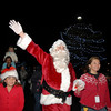 BE1205betree10<br /> Santa waves at the crowd after landing vis helicopter for theHoliday Tree Lighting Ceremony at the Broomfield City and County Building on Friday.<br /> <br /> December 3, 2010<br /> staff photo/David R. Jennings