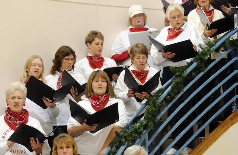 the Broomfield Civic Chorus perform at the Holiday Tree Lighting Ceremony at the Broomfield City and County Building on Friday<br /> December 4, 2009<br /> Staff photo/David R. Jennings