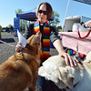 Rev. Kim Seidman gives the Blessing of the Animals to Bijou,left, and Charlie, owned by Tracy Reiner, at Holy Comforter Episcopal Church on Saturday.<br /> September 29, 2012<br /> staff photo/ David R. Jennings