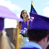 Valedictorian Genevieve Roth addresses the class of 2012 during Holy Family High School's 87th Annual Commencement at Mike G. Gabriel Stadium on Thursday.<br /> <br /> May 24, 2012 <br /> staff photo/ David R. Jennings