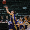 Holy Family's Taylor Helbig catches the ball past Colorado Springs Christian's Joanna Guhl during Saturday's 3A state championship game at CSU's Moby Gym.<br /> <br /> <br /> March 13, 2010<br /> Staff photo/David R. Jennings