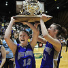 Molly Coogan, left, and Taylor Helbig hold the state 3A state trophy  for fans after defeating Colorado Springs Christian for the 3A state championship at CSU's Moby Gym on Saturday.<br /> <br /> <br /> March 13, 2010<br /> Staff photo/David R. Jennings