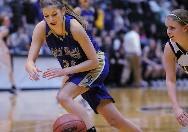 Holy Family's Stephanie Giltner steals the ball from Colorado Springs Christian during Saturday's 3A state championship game at CSU's Moby Gym.<br /> <br /> <br /> March 13, 2010<br /> Staff photo/David R. Jennings
