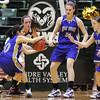 Holy Family's Megan Chavez steals the ball from Colorado Springs Christian's Erika Heckman during Saturday's 3A state championship game at CSU's Moby Gym.<br /> <br /> <br /> March 13, 2010<br /> Staff photo/David R. Jennings