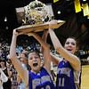 Molly Coogan, left, and Taylor Helbig hold the state 3A state trophy after Holy Family defeated Colorado Springs Christian during Saturday's 3A state championship game at CSU's Moby Gym.<br /> <br /> <br /> March 13, 2010<br /> Staff photo/David R. Jennings