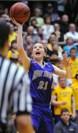 Holy Family's Sarah Talamates does a lay-up against Colorado Springs Christian during Saturday's 3A state championship game at CSU's Moby Gym.<br /> <br /> <br /> March 13, 2010<br /> Staff photo/David R. Jennings