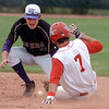 Short stop Devlin Granberg, Holy Family,  scrambles afte the ball to tag out  Jacobe Galley, Hotchkiss during Saturday's state palyoff game at Jackson Field in Greeley.<br /> May 21, 2011<br /> staff photo/David R. Jennings