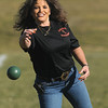 Marie Elliott throws a bocce ball during the 4th Annual Bocce Ball Tournament at Holy Family High School on Saturday.<br /> October 17, 2009<br /> Staff photo/David R. Jennings