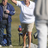 Donna Loper with the Anthem Ranch Bocce Team throws her bocce ball during a match in the 4th Annual Bocce Ball Tournament at Holy Family High School on Saturday.<br /> October 17, 2009<br /> Staff photo/David R. Jennings
