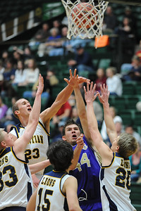 Holy Family's Kyle Willis goes to the basket against Colorado Springs Christian during the 3A state Great Eight Game at CSU on Thursday.  March 8,  2012  staff photo/ David R. Jennings
