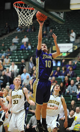 Holy Family's Tanner Stuhr shoots the ball against Colorado Springs Christian during the 3A state Great Eight Game at CSU on Thursday.<br /> <br /> March 8,  2012 <br /> staff photo/ David R. Jennings