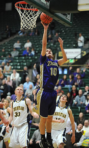 Holy Family's Tanner Stuhr shoots the ball against Colorado Springs Christian during the 3A state Great Eight Game at CSU on Thursday.  March 8,  2012  staff photo/ David R. Jennings
