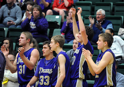 Holy Family celebrates their win over Colorado Springs Christian  the 3A state Great Eight Game at CSU on Thursday.  March 8,  2012  staff photo/ David R. Jennings