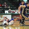 Holy Family's Chuck Hollwedel takes the ball down court after Gintas Jarasius collided with Colorado Springs Christian's Kyle Broekhuis during the 3A state Great Eight Game at CSU on Thursday.<br /> <br /> March 8,  2012 <br /> staff photo/ David R. Jennings