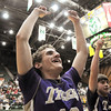 Holy Family's Tanner Stuhr cheers after the tiger defeated  Colorado Springs Christian 61-41 in the 3A state Great Eight Game at CSU on Thursday.<br /> <br /> March 8,  2012 <br /> staff photo/ David R. Jennings
