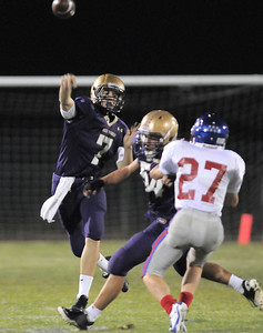 Holy Family's quarterback David Sommers throws a pass against Centaurus during Friday's game at Michael G. Gabriel Stadium. September 23, 2011 staff photo/ David R. Jennings
