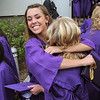 Tayolor Helbig, left, hugs Kelsey Rudisill  in the courtyard after Wednesday's Holy Family High School graduation ceremony.<br /> May 18, 2011<br /> staff photo/David R. Jennings
