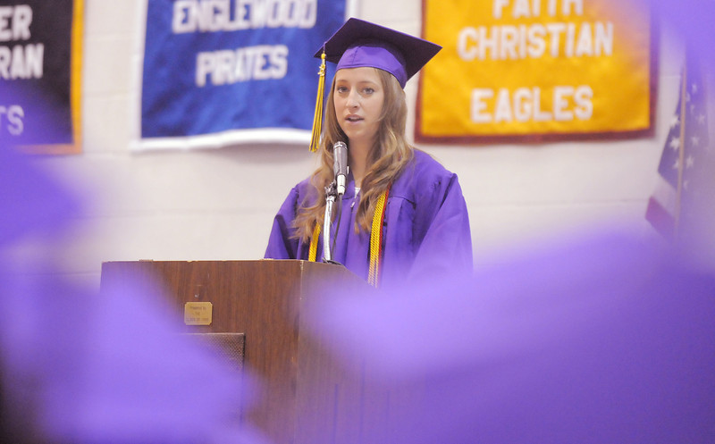 Sarah Talamantes gives her gives her Salutatory address during Wednesday's Holy Family High School graduation ceremony.<br /> May 18, 2011<br /> staff photo/David R. Jennings