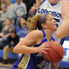 Stephanie Giltner,  Holy Family, goes to the basket against Longmont during Thursday's game at Longmont.<br /> February 3, 2011<br /> staff photo/David R. Jennings